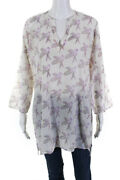 Roberta Roller Rabbit Womens Cotton Long Sleeve Printed Tunic Top White Size M