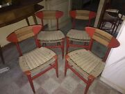 Set Of Four Chairs Design Hans Wegner Years 50 Wood Rope