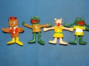 """Set Of All 4 1973 Imperial Toys New Zoo Review Rubber Bendy 3"""" Figure"""