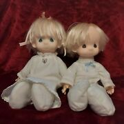 Vintage 1984 Set Of Precious Moments Jesus Loves Me Boy And Girl Dolls - 16in