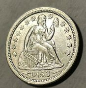 1853 10c Seated Liberty Dime Au Uncertified