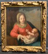 Antique 19 C Old Master Painting Mystery Of Mary Mother Of God Madonna And Child