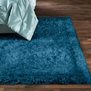 Northern Lights-classic Shag Rug 5' X 7' Teal With Silver Strands Lurex Finish