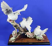 Florence Guiseppe Armani Group Of Three Doves Le Sculpture 996s W/coa