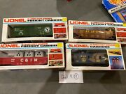 Lot Of 4 Lionel Freight Carriers O And O27 Gauge Caboose, 6-6206, 6-9339, 6-6918