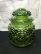 Le Smith Green Moon And Star Small Glass Cannister 5 1/2 Tallw/lid