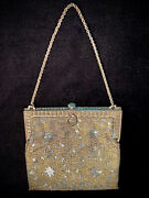 Gorgeous Antique Faceted Beaded Handbag Imported French Steel Red Silk Lining