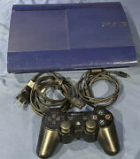 Sony Playstation 3 Super Slim Launch Edition 250gb Azurite Blue Console Ps3