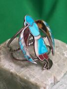 Vintage Zuni Inlay Bracelet With Eagle Dancer - An Old Pawn Masterpiece