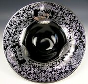 Sterling Silver Overlay On Black Amethyst Deers And Flower 12 Footed Bowl