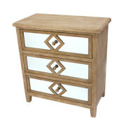 Saltoro Sherpi Wood And Mirror Trim Storage Cabinet With 3 Drawers, Brown And