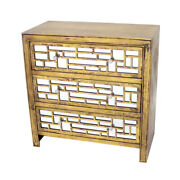 Saltoro Sherpi Wood And Mirror Trim Storage Cabinet With 3 Drawers, Gold And