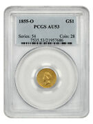 1855-o G1 Pcgs Au53 Type 2 Scarce Gold Dollar From New Orleans - 1 Gold Coin