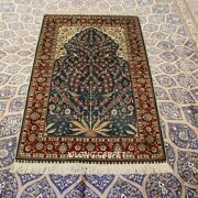 Yilong 3and039x5and039 Blue Handknotted Silk Carpet High Density Tree Of Life Rug 295h