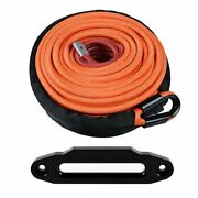 95and039 3/8 Orange 22000lb Synthetic Winch Rope Line Cable 10 Hawse Fairlead Black