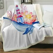 Ocean Lighthouse Floral Whale Sherpa Plush Throw Blanket Fleece Bed Sofa Couch