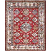 8and039x10and039 Hand Knotted Red Super Kazak Medallion Design Wool Oriental Rug G61153