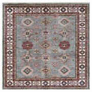 7and0398x7and0398 Wool Hand Knotted Gray Super Kazak With Medallions Square Rug G61170