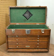 L1 - Vintage 20 Gerstner And Sons Oak 7-drawer Machinist Tool Chest Box Toolbox