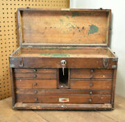 L3- Vintage Sipco Schartow Iron Products Machinist Wood Tool Chest Box
