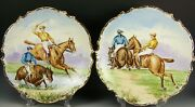 Beautiful Pair Of Limoges Hand Painted Polo Matching 13 Plaques