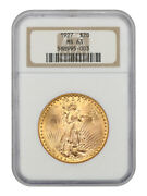 1927 20 Ngc Ms63 - Saint Gaudens Double Eagle - Gold Coin