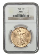 1922 20 Ngc Ms63 - Saint Gaudens Double Eagle - Gold Coin