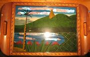 Vintage Butterfly Wing Art Wood Inlay Serving Tray Brazil 21x13 Blue Morpho