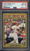 2008 Topps Updates And Highlights Gold Uh185 Joey Votto Rookie Psa 8 /2009 Lowpop