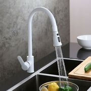 White High-arc Single Hole One Handle Pullout Sprayer Kitchen Faucet Solid Brass