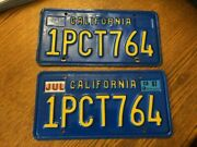 Antique Vintage Pair Of California Collectible License Plates W/1987 Sticker