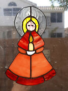 Vtg Leaded Stained Glass Angel With Candle Window Suncatcher Christmas Ornament