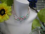 Vintage Miriam Haskell Frank Hess Pink Flower Art Glass Silk Cord Pearl Necklace
