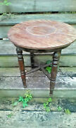 Antique Small Round Wooden Stool/table Well Crafted Unique Primitive Nice Patina