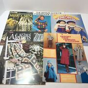 5 Crochet Pattern Books Afghan Clothes Doll Clothes Coat Dress Shawls