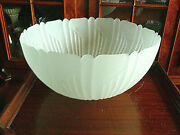 Antique Art Deco Retro Frosted Glass Embossed Heavy Lamp Globe Dome Shade 14x7