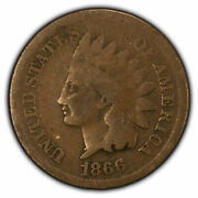 1866 1c Indian Head Small Cent - Semi-key Date Coin - Sku-z1894