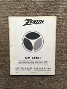 Vintage Zenith Cm-124s1 Model And Color-tv Chassis Service Manual August, 1975
