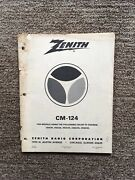 Vintage Zenith Cm-124 Model And Color Tv Chassis Service Manual May, 1975