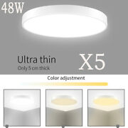 5pcs 48w Led Round Ceiling Panel Light Down Lamp Home Kitchen Bathroom Dimmable