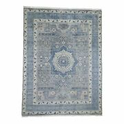 9and0392x12and0392 Blue Pure Wool Mamluk Design Handknotted Oriental Rug G45725