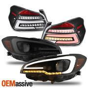 For 15-21 Wrx Blk Smoke Led Drl Sequential Projector Headlight+led Tail Light