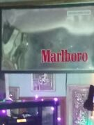 3 Ft. X 4 Ft. Giant Mirrored Light Up Marlboro Sign Probably Hung In Bar / Store