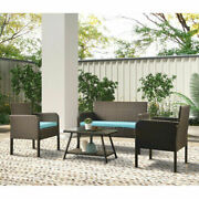 4 Pcs Outdoor Rattan Garden Sofa Seating Group With Cushions Ratten Sofa Brown