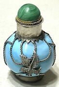 Vintage Antique Chinese Glass Metal Mounted Marked Perfume Snuff Bottle Old