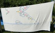 Antique Shabby Chenille Floral Bedspread