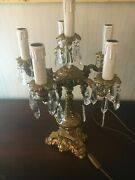 1 Bronze Candle Holder 6 Glow Crystal Baccarat Or St Louis