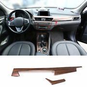 For Bmw X1 F48 2016-2021 Pine Wood Grain Central Console Instrument Panel Trim