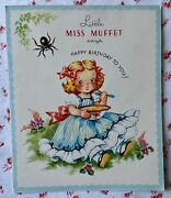 Vintage 1940s Unused Little Miss Muffet Story Birthday Greeting Card Spider Nos