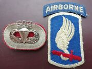 173rd Airborne Patch Tab Parachute 503rd Jump Wing Badge Pin Military Army Lot